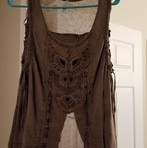 Free People brown sleeveless shirt